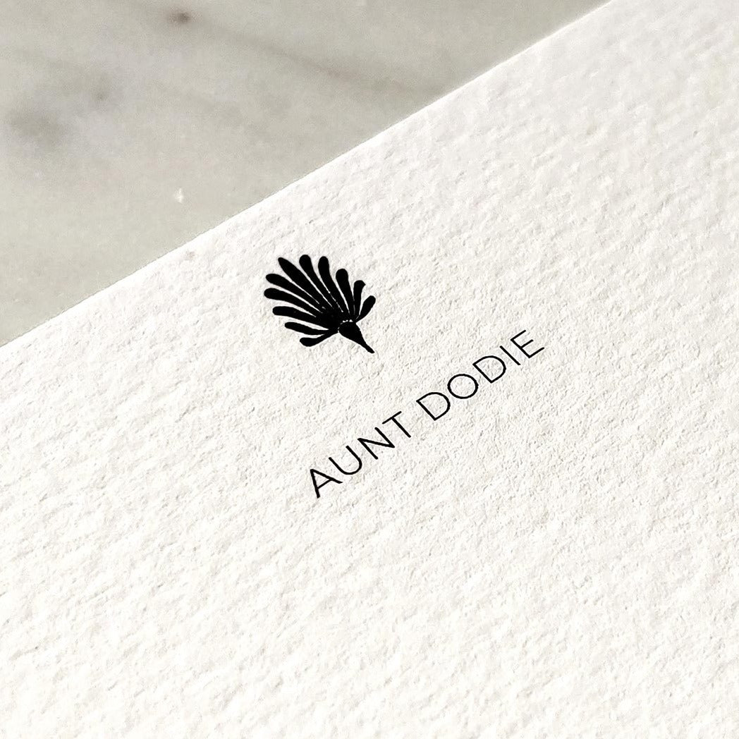 Detail of The Punctilious Mr. P's note card showing personalized name--- 'Aunt Dodie'