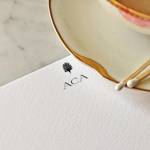 Detail of The Punctilious Mr. P's note card showing personalized initials--- 'ACA'