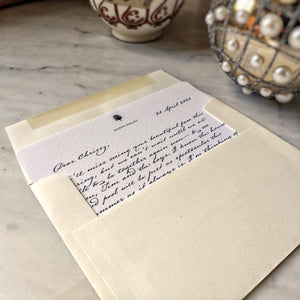 The Punctilious Mr. P's 'lover's eye- pearl' personalized note card in old kinderhook script inside an envelope