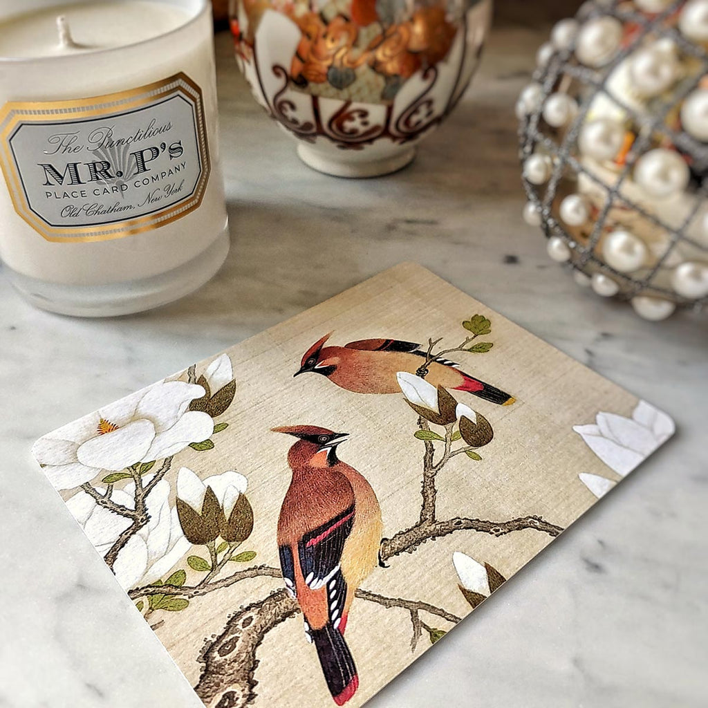 The Punctilious Mr. P's 'silktail cardinal' personalized note card showing a watercolor of asian birds