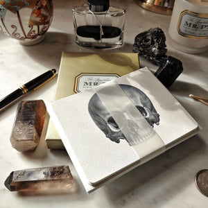 The Punctilious Mr. P's 'The Skull' note card pack with crystals laid around it