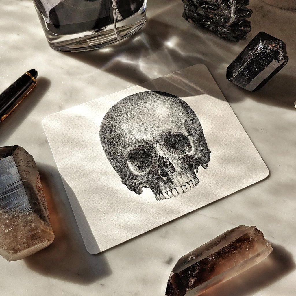 The Punctilious Mr. P's 'The Skull' note cards on marble table with beautiful crystals in background