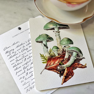 Single Personalized Note Card: Verdigris Mushrooms
