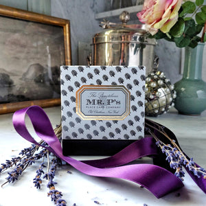 "Mr. P's ""Pax"" wellness candle in signature box with purple satin ribbon"