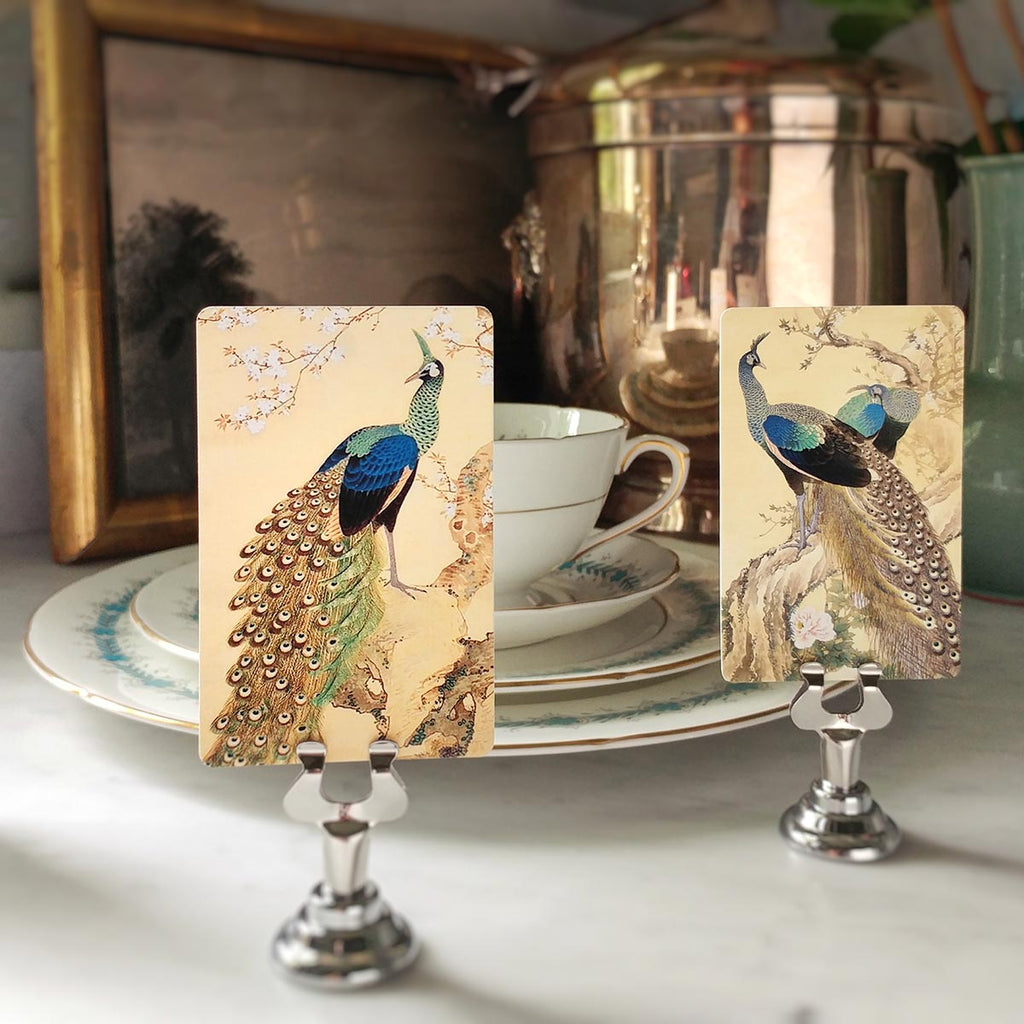 The Punctilious Mr. P's 'Courtship of Peacocks' Place Cards