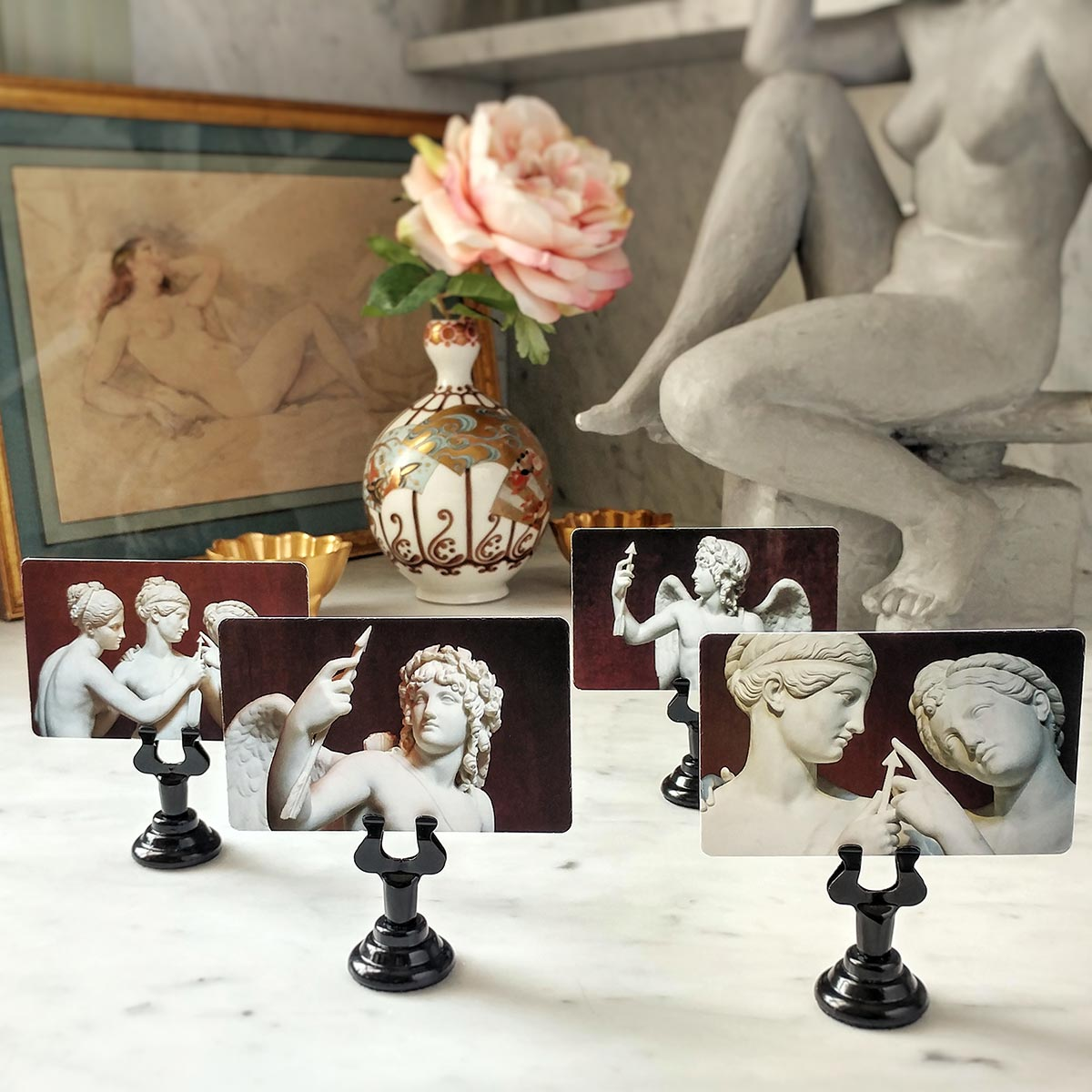 The Punctilious Mr. P's 'Cupid's Arrow' Valentine's Day place card set featuring the graces and cupid