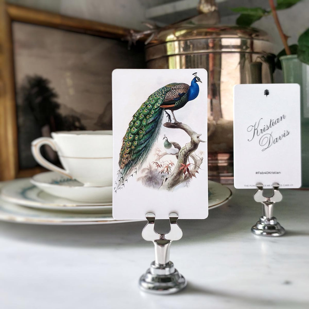 The Punctilious Mr. P's 'Eternal Peacock' place cards