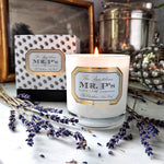 "Mr. P's ""Pax"" Lavender essential oil wellness candle with 2 piece signature box"