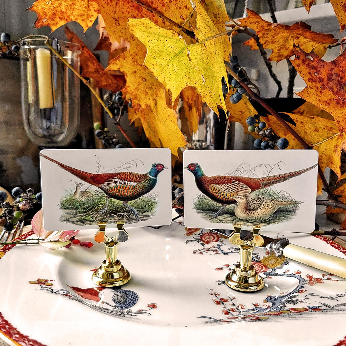 The Punctilious Mr. P's 'Fall Pheasants' place card set