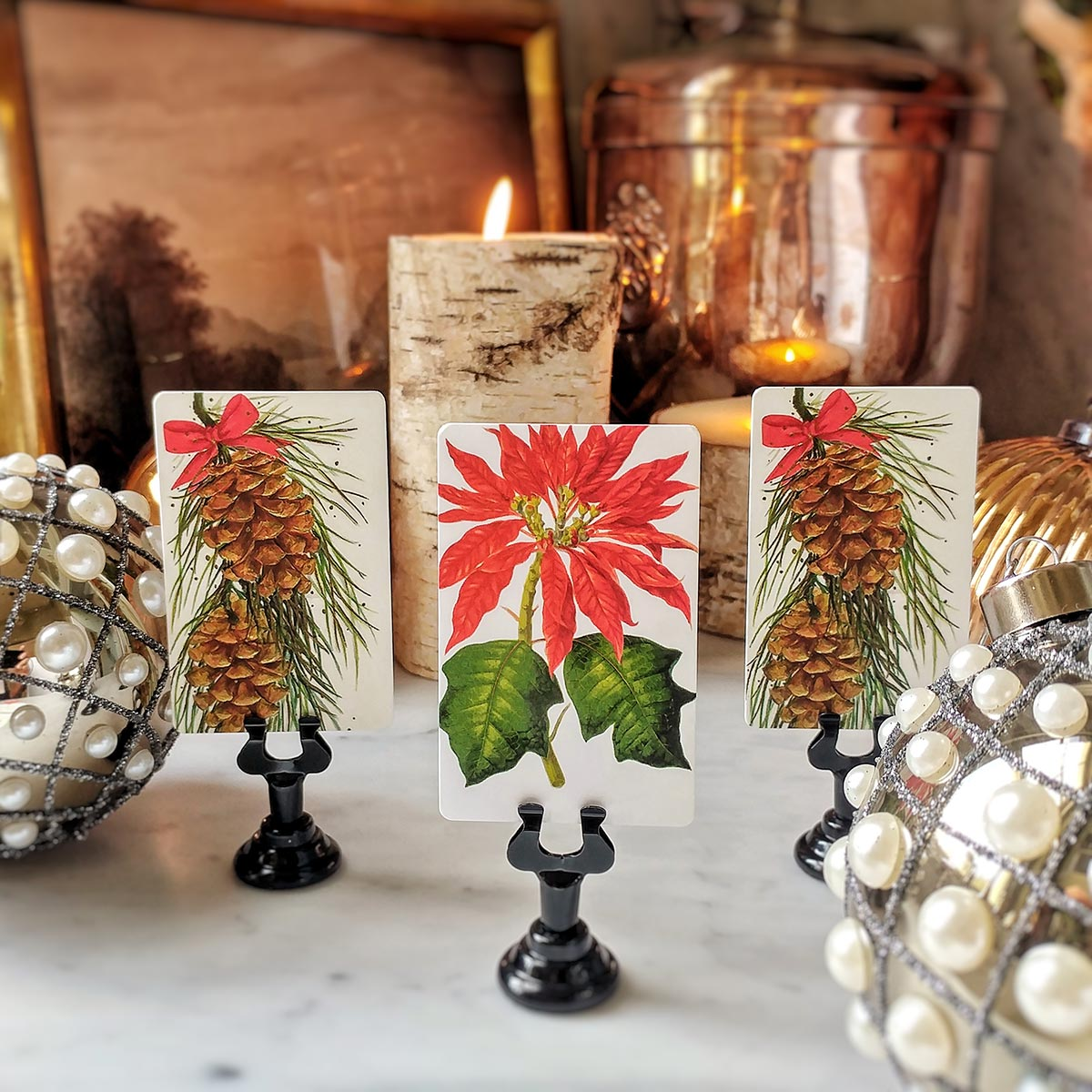 The Punctilious Mr. P's 'Poinsettia' place cards paired with Coulter Pine Cones