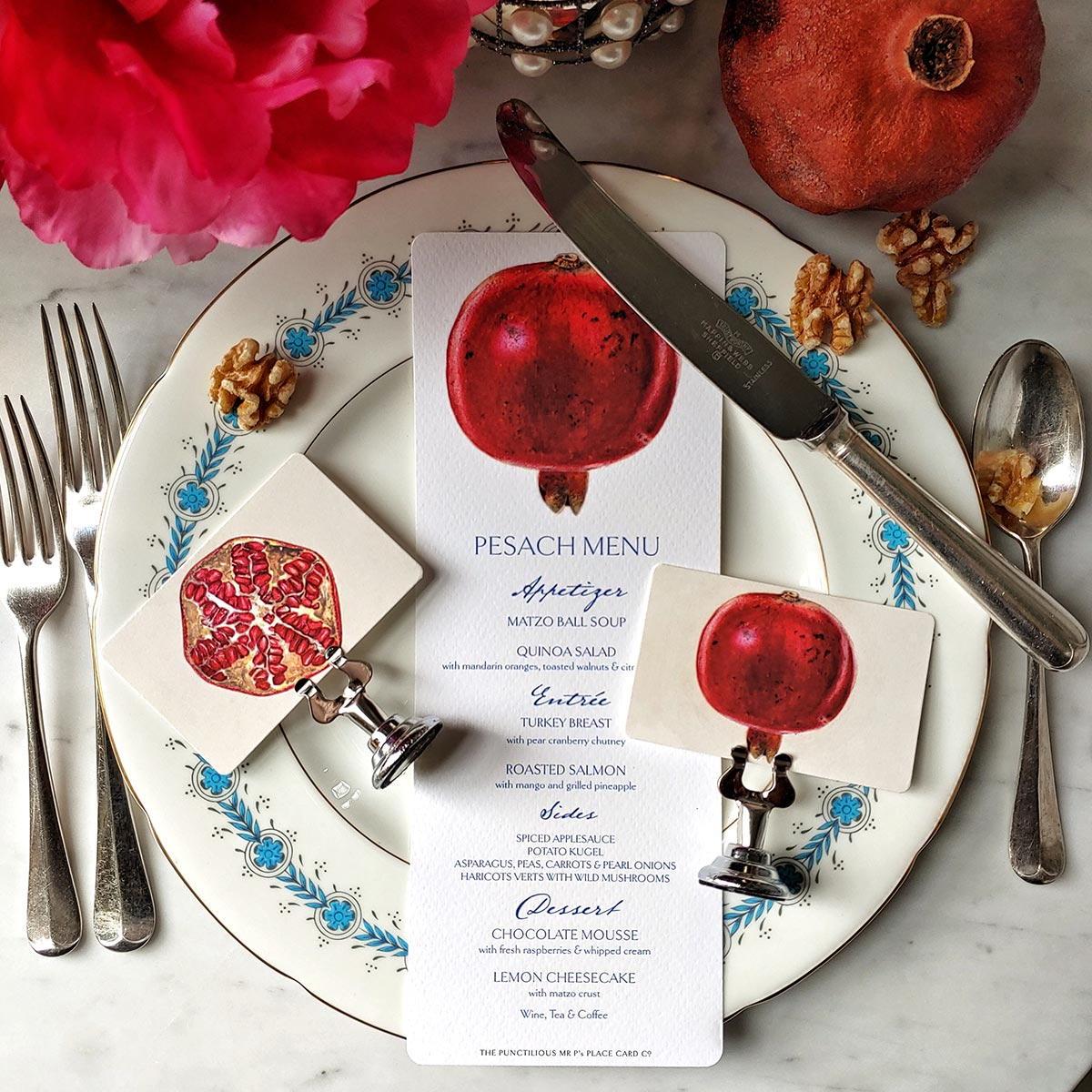 The Punctilious Mr. P's 'Pomegranate' place cards with pomegranate menu card