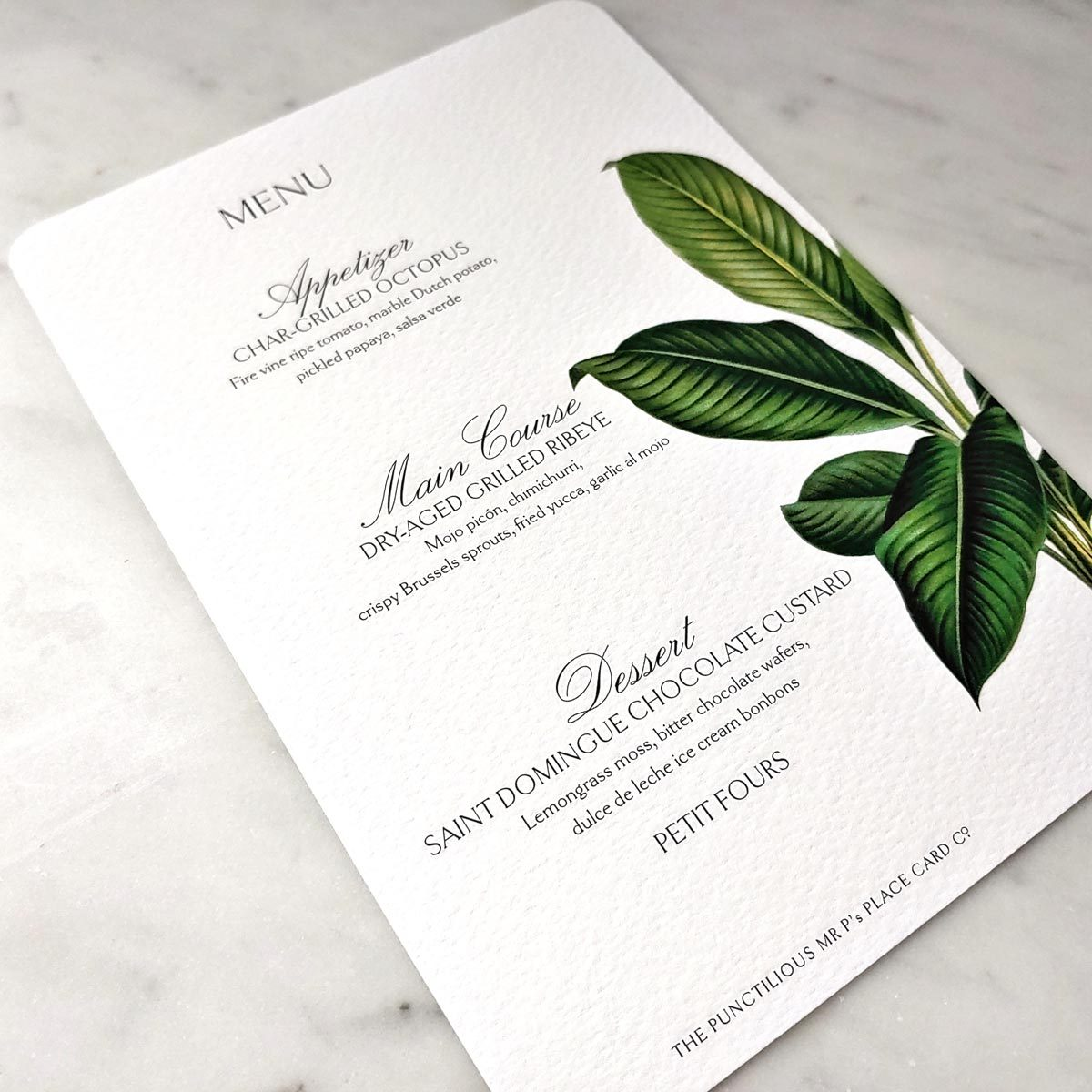 Mr. P's place cards- Tropical Foliage Menu Card