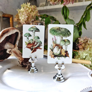 The Punctilious Mr. P's Verdigris Mushrooms place cards
