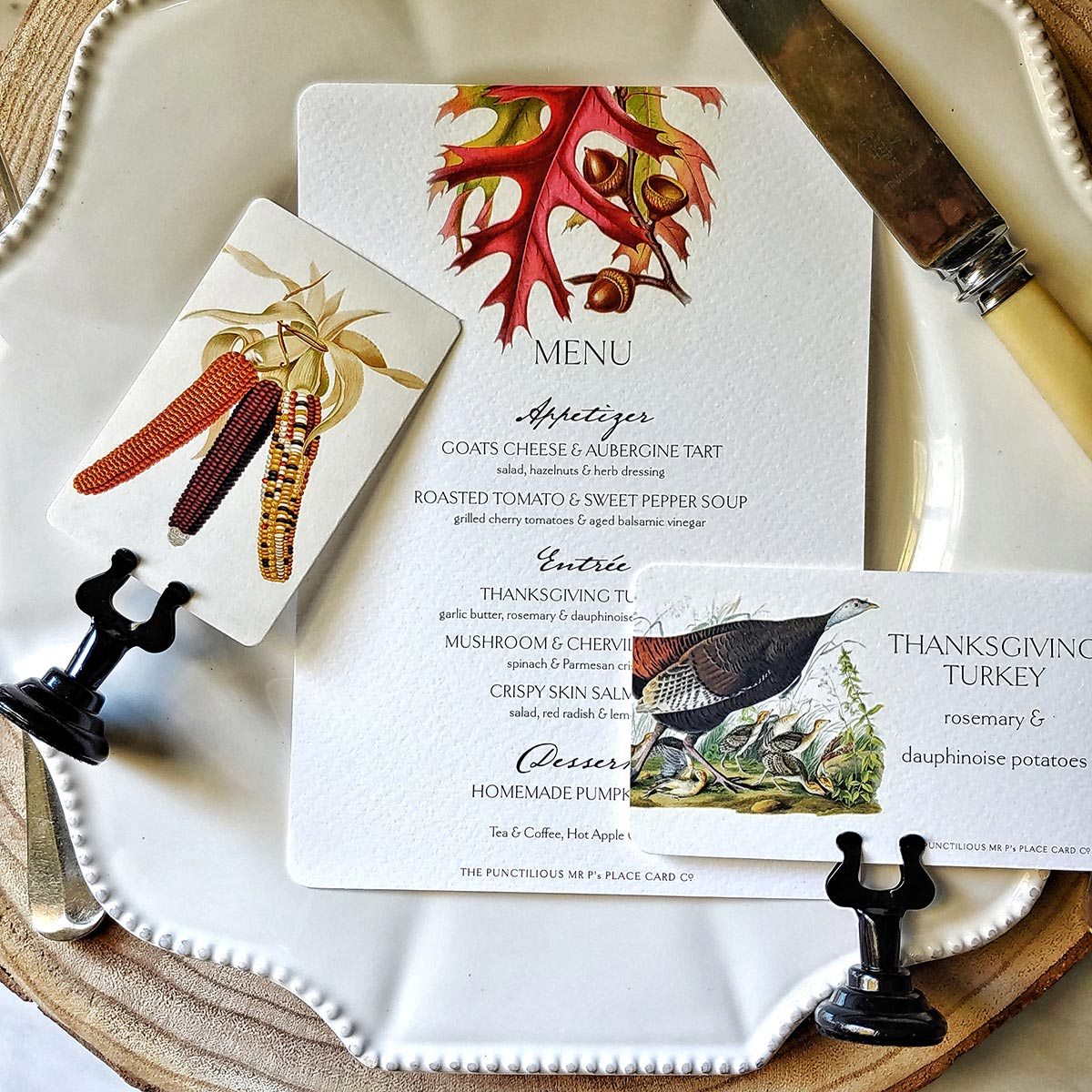 The Punctilious Mr. P's Party Suite of place cards, menu cards and buffet tags