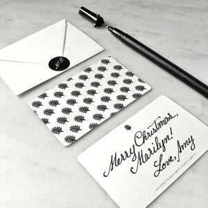 The Punctilious Mr. P's envelope and note card with gift box