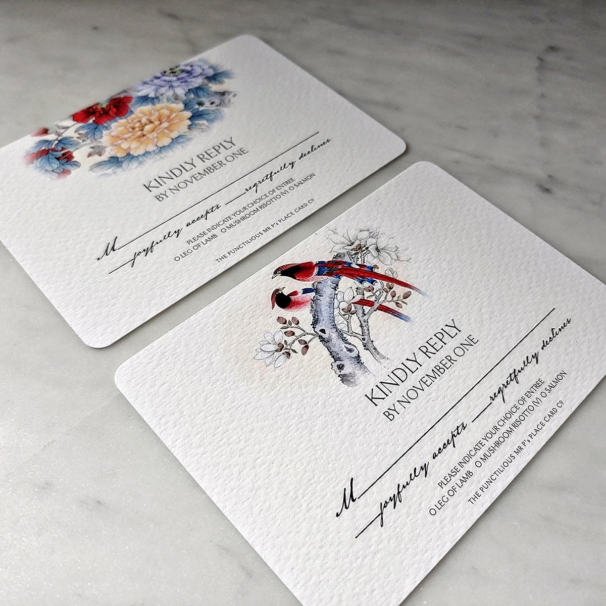 The Punctilious Mr. P's Wedding RSVP cards