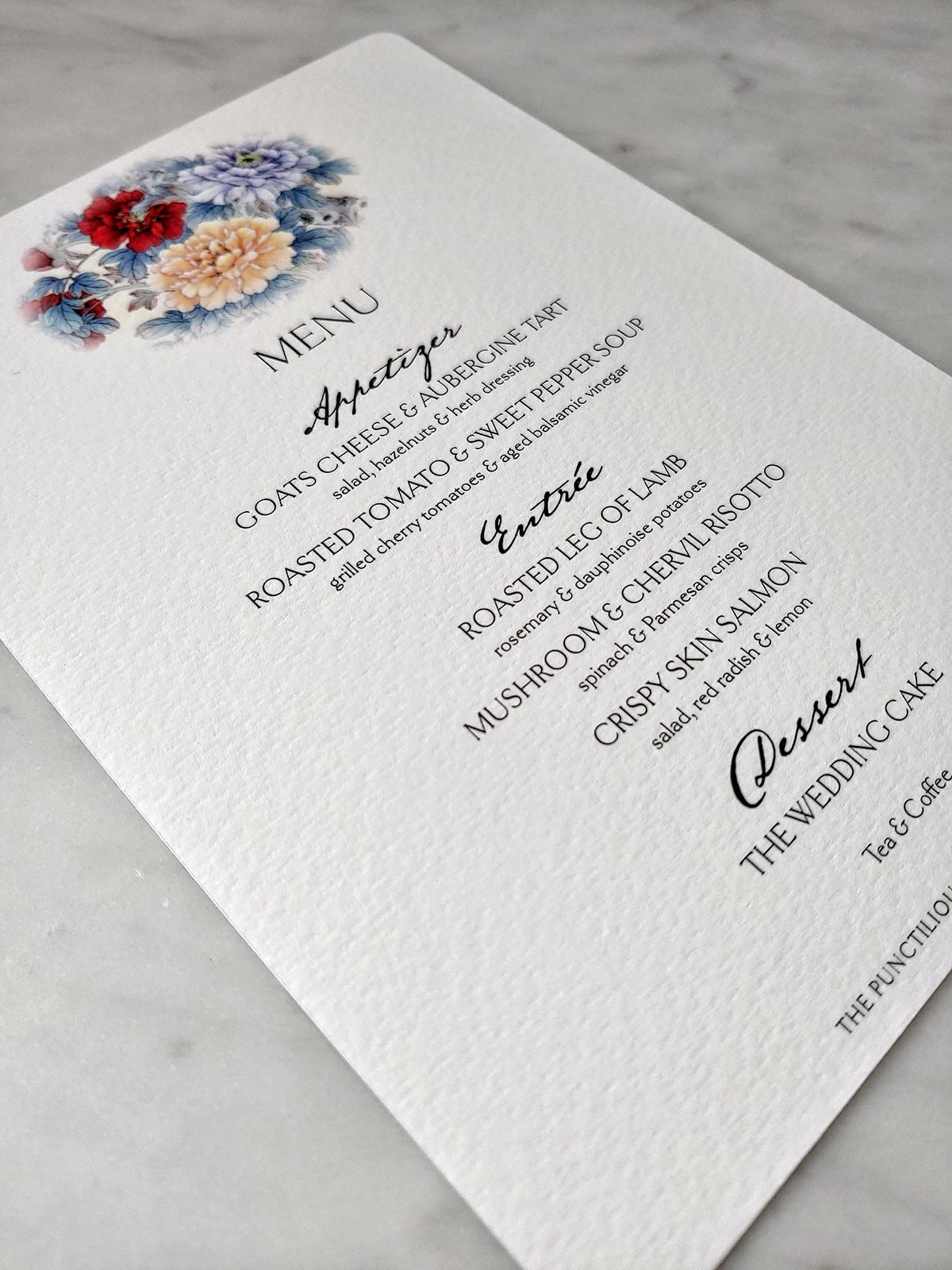 The Punctilious Mr. P's Wedding 'Menu Cards' in Mayfair size