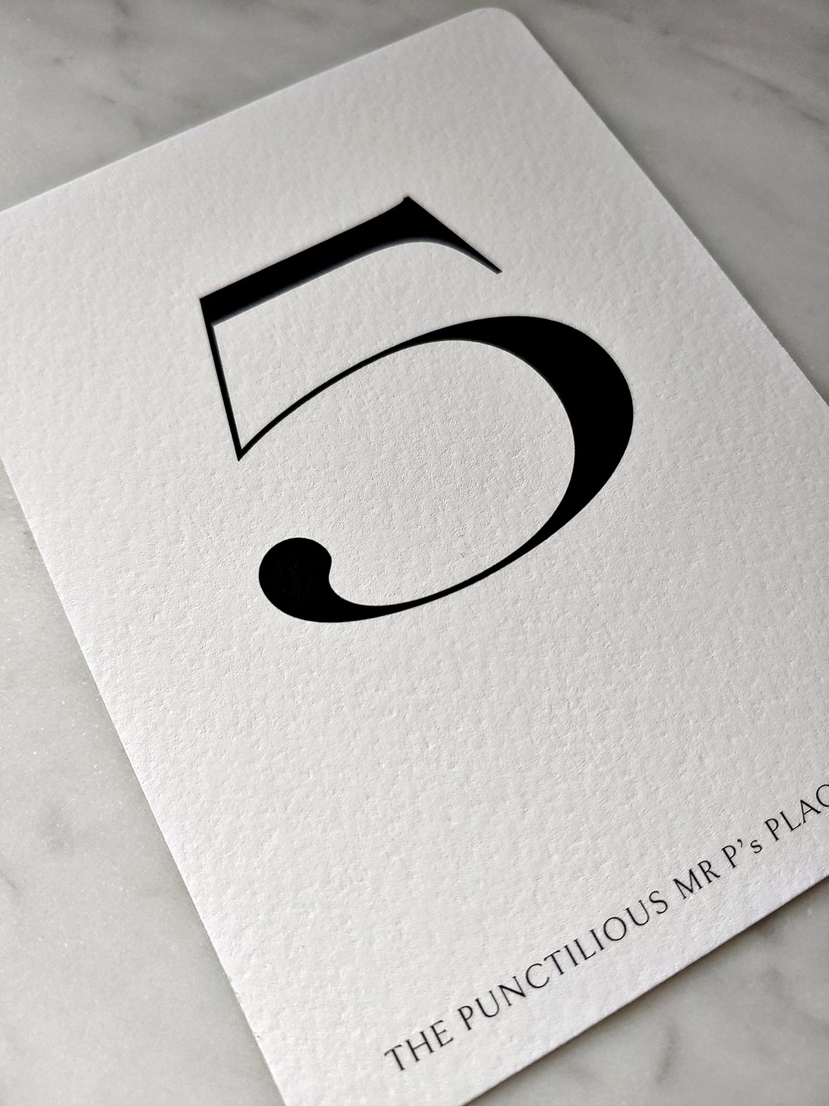 The Punctilious Mr. P's Wedding Table Number cards