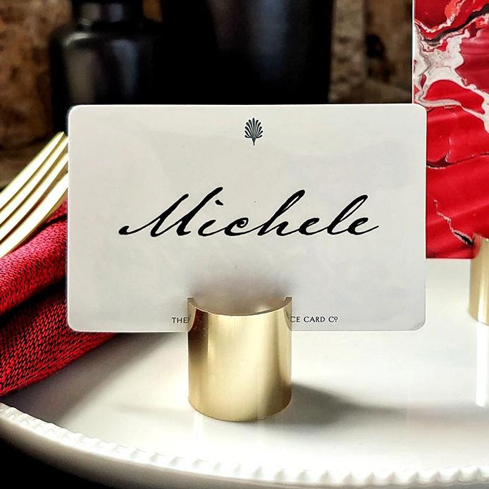 The Punctilious Mr. P's Gold Barrel Place Card Holder in gold