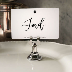 Mr. P's 'Modern' calligraphy font place card