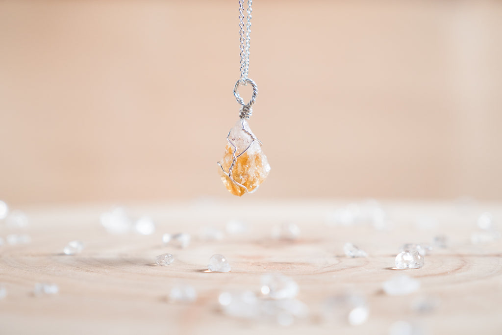 Citrine dainty necklace | Sterling Silver
