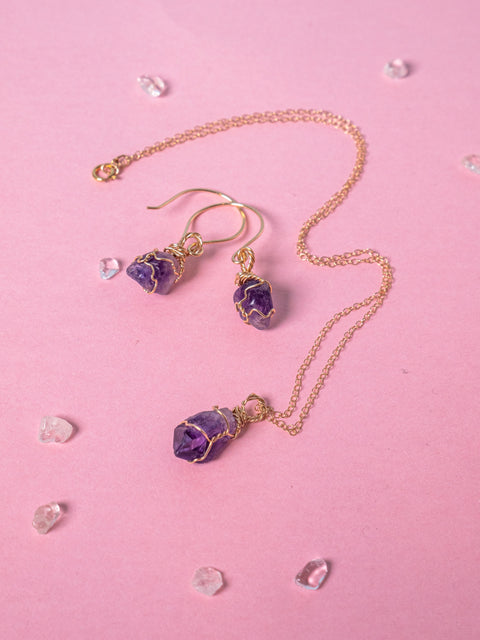 Amethyst - Goddess Jewellery set - 14k Yellow Gold