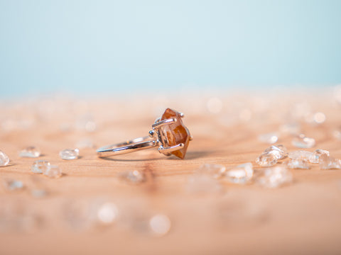 Tangerine Quartz Hera ring | sterling silver
