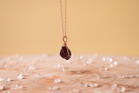 Garnet dainty necklace | 14k rose gold fill