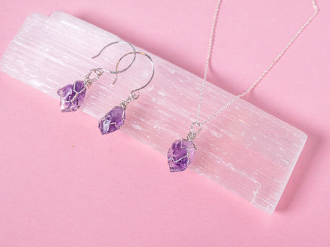 Amethyst - Goddess Jewellery Set - Sterling Silver