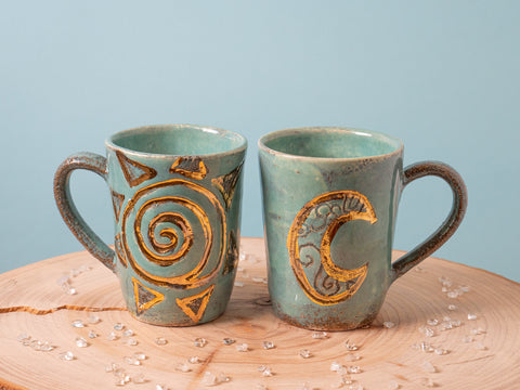 Sacred Moon and Sun Mug - Turquoise