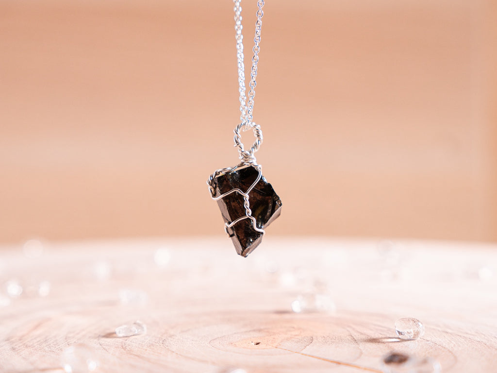 Shungite dainty necklace | sterling silver