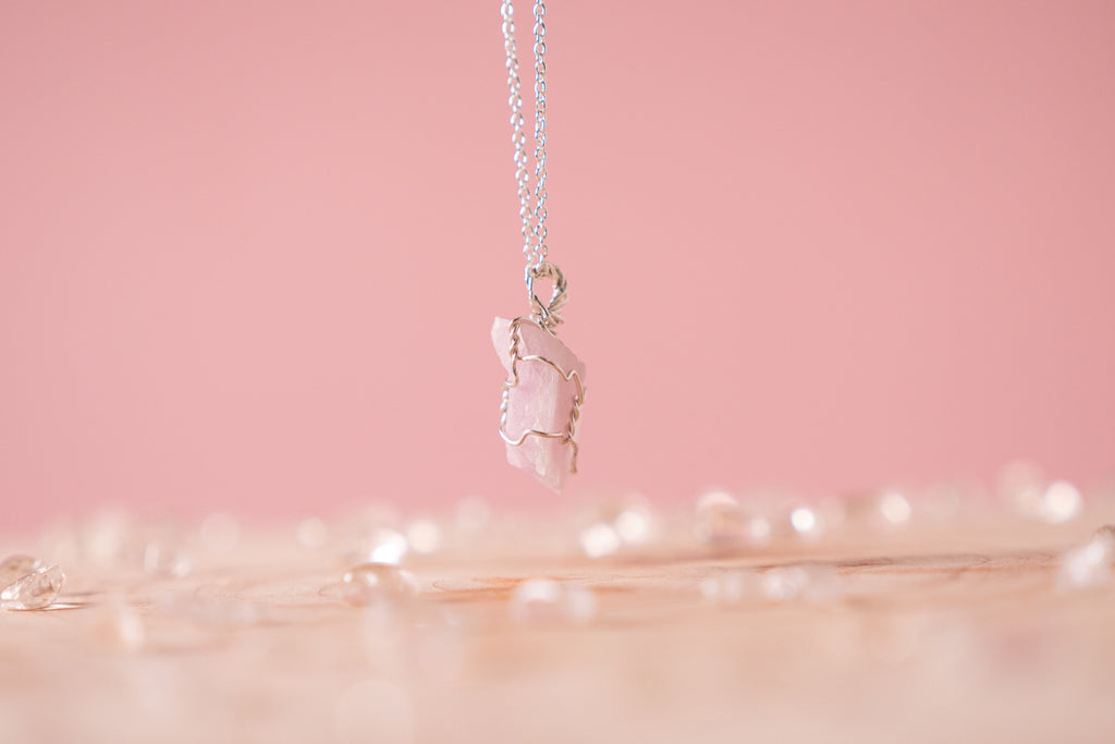 Pink Kunzite dainty necklace | sterling silver