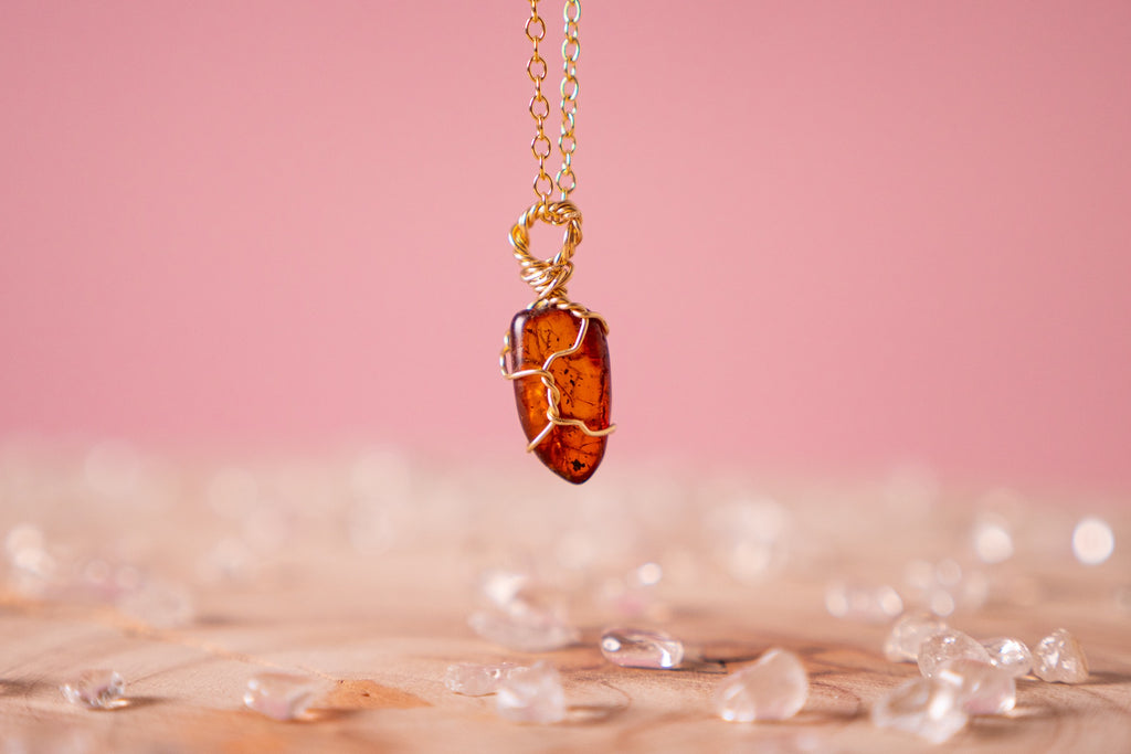 Amber dainty necklace | 14k gold fill
