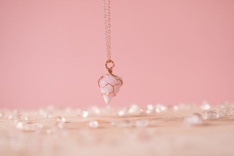 Pink Kunzite dainty necklace | 14k Rose Gold fill