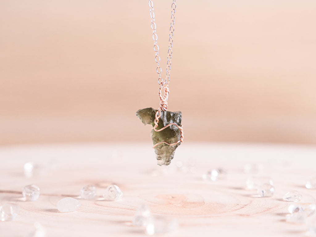 Moldavite dainty necklace // 14k Rose Gold Fill