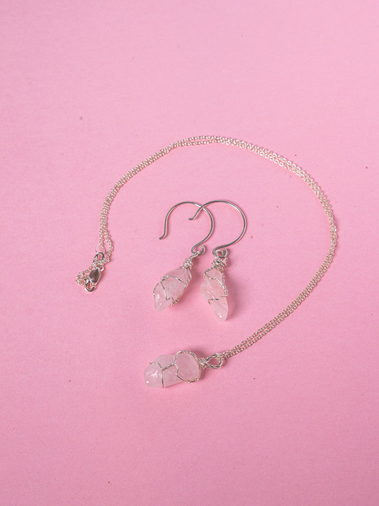 Rose Quartz - Goddess Jewellery Set - Sterling Silver