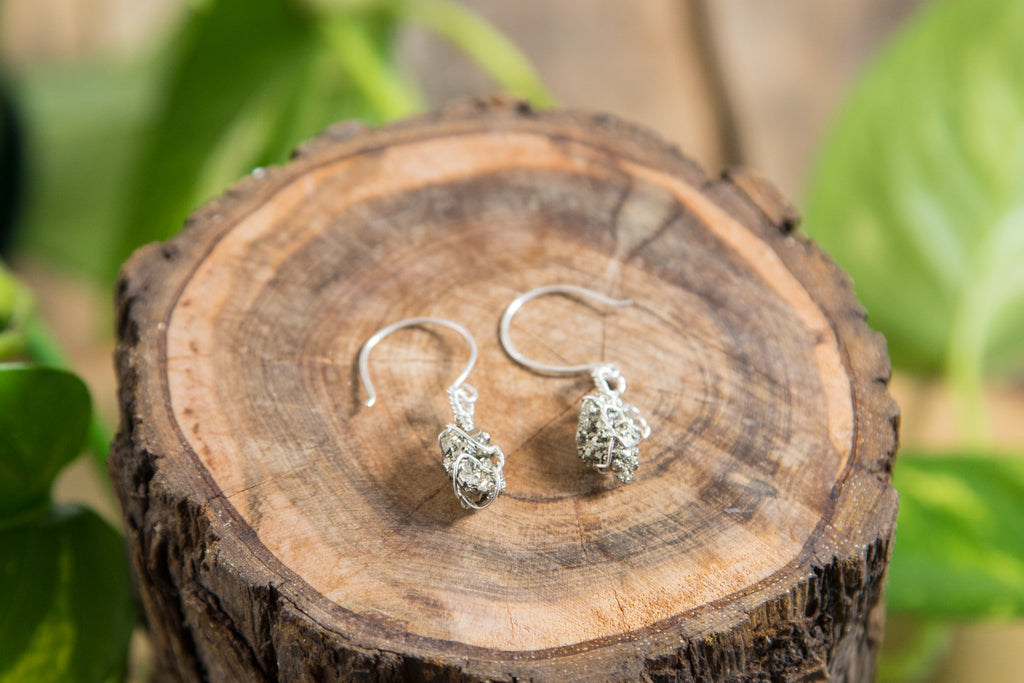 Pyrite cluster drop earrings / sterling silver