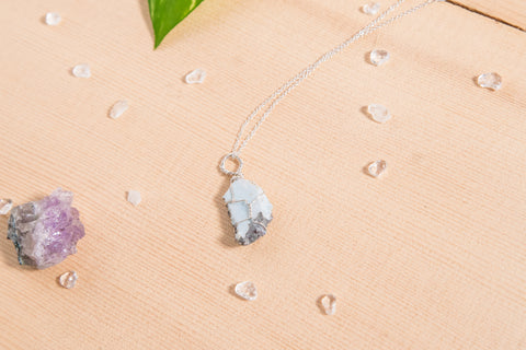 Larimar dainty necklace / sterling silver