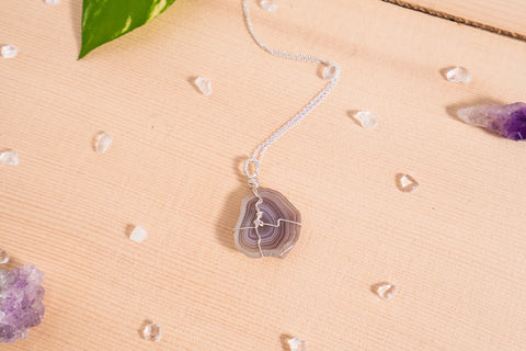 Botswana Agate dainty necklace / sterling silver