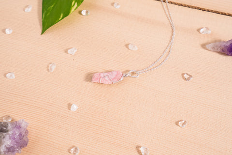 Rhodochrosite dainty necklace / sterling silver