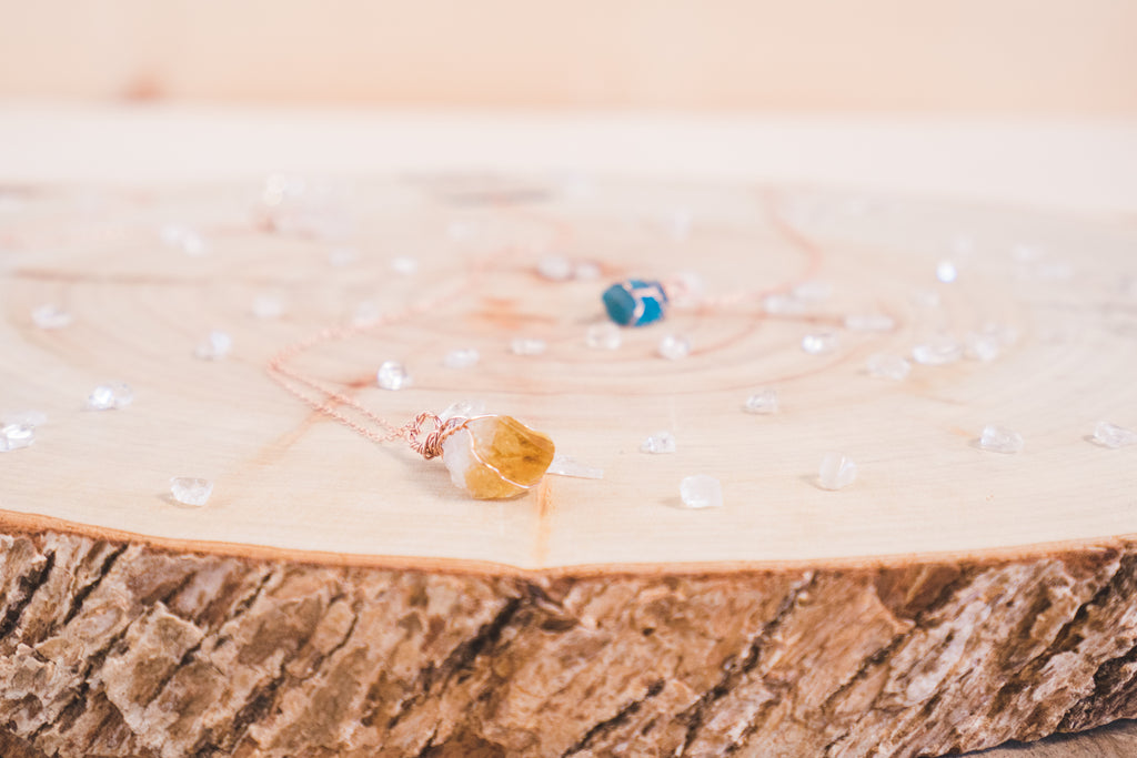 Citrine dainty necklace // 14k rose gold fill