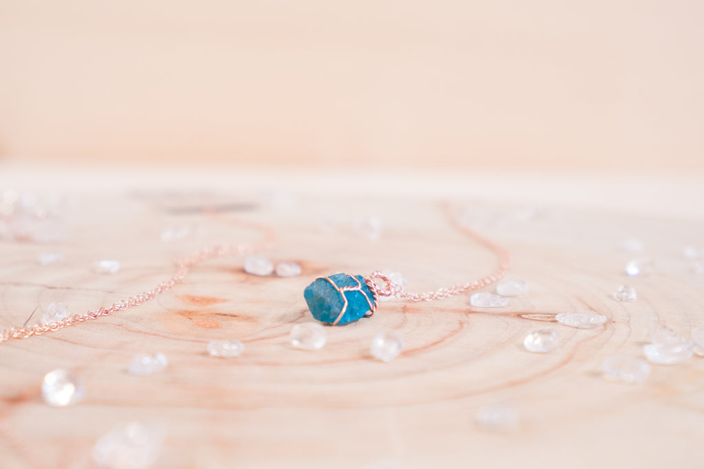 Apatite dainty necklace // 14k rose gold fill