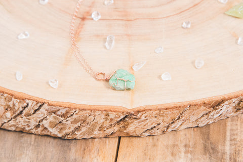 Chrysoprase dainty necklace // 14k rose gold fill