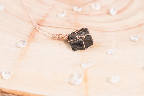 Shungite dainty necklace | 14k Rose Gold fill
