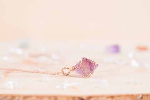 Purple Fluorite dainty necklace // 14k rose gold fill