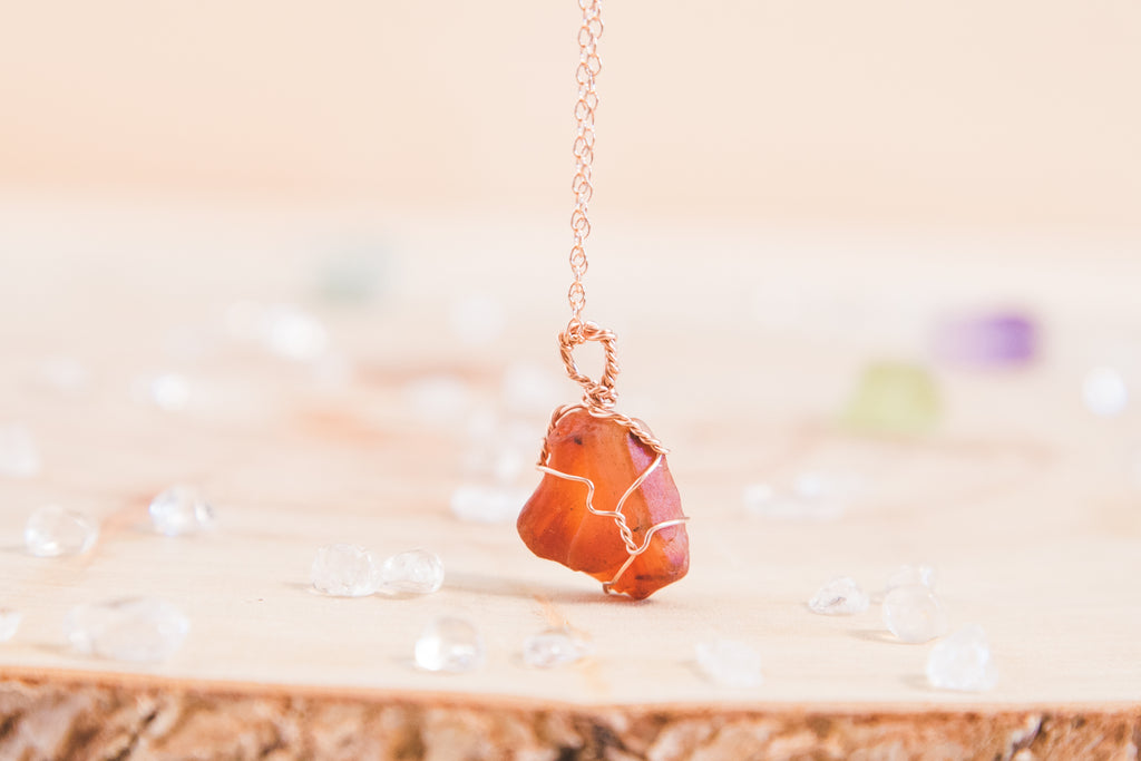 Carnelian dainty necklace // 14k rose gold fill