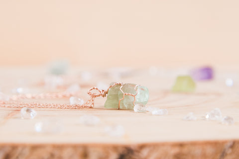 Green Calcite dainty necklace // 14k rose gold fill