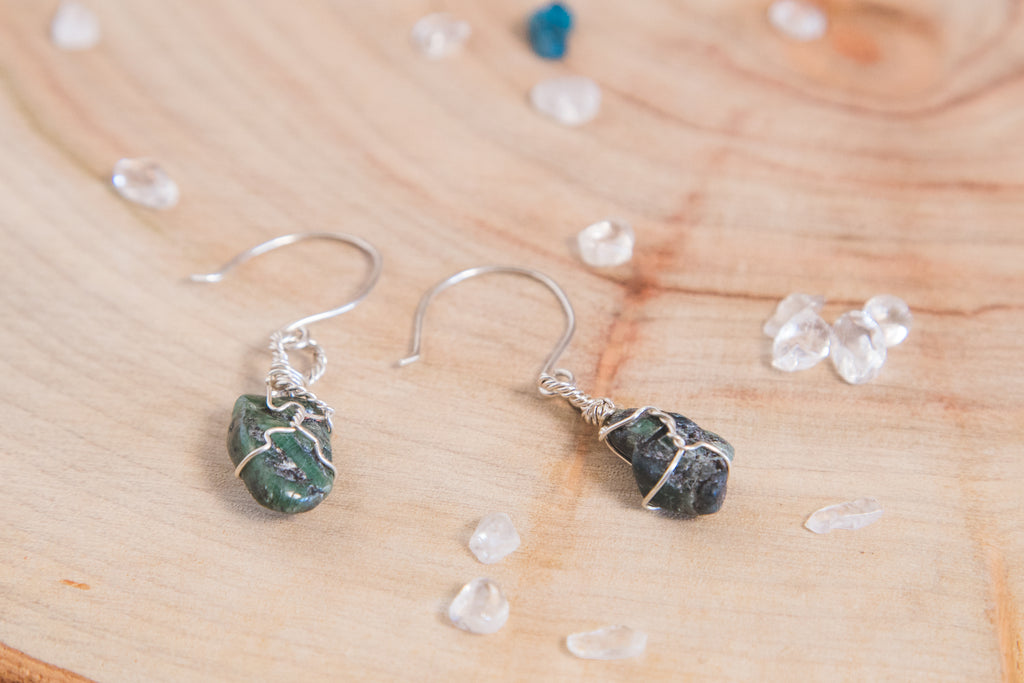 Emerald drop earrings // sterling silver