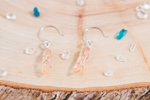 Tangerine Quartz drop earrings // Sterling Silver