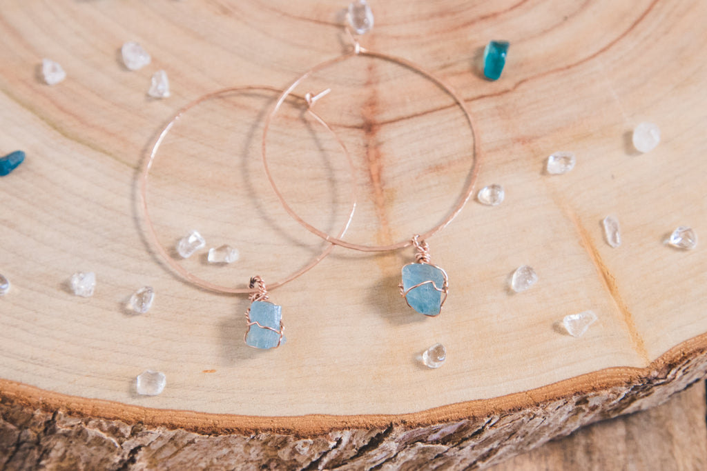 Aquamarine Selene Hoops | Rose gold